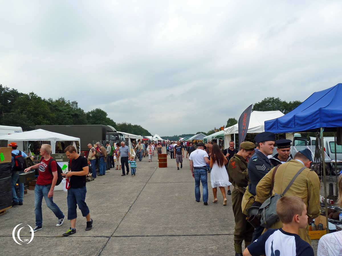 View of the militaria fair at Wings and Wheels Ursel Airfield Belgium