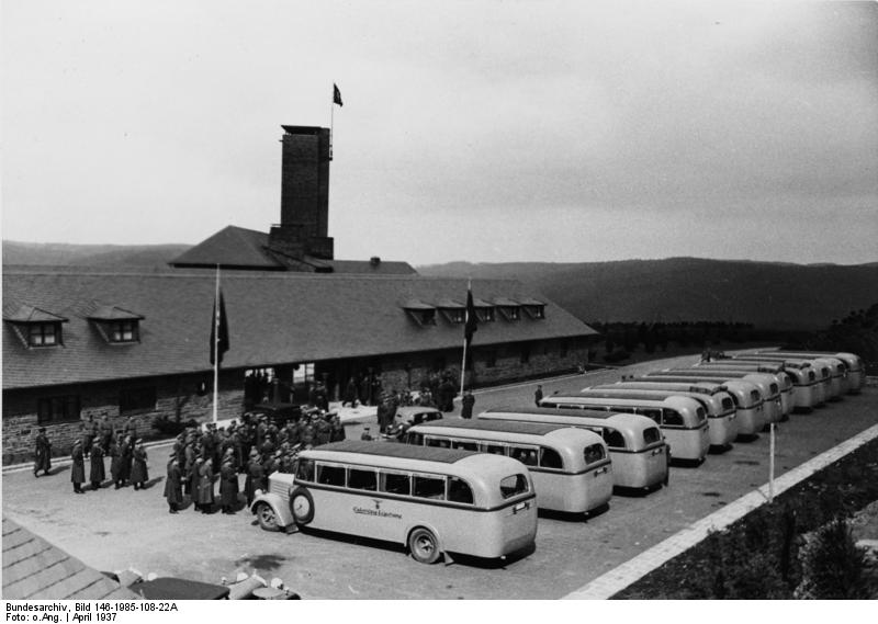 Busses arriving at Vogelsang for the Kreisleitertagung in April 1937