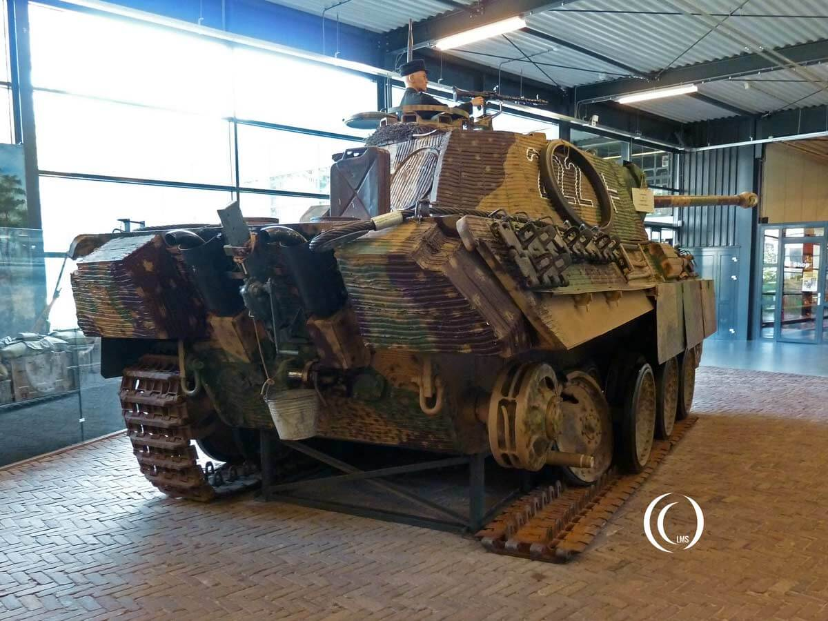 German Panther tank partly on tracks at War Museum Overloon