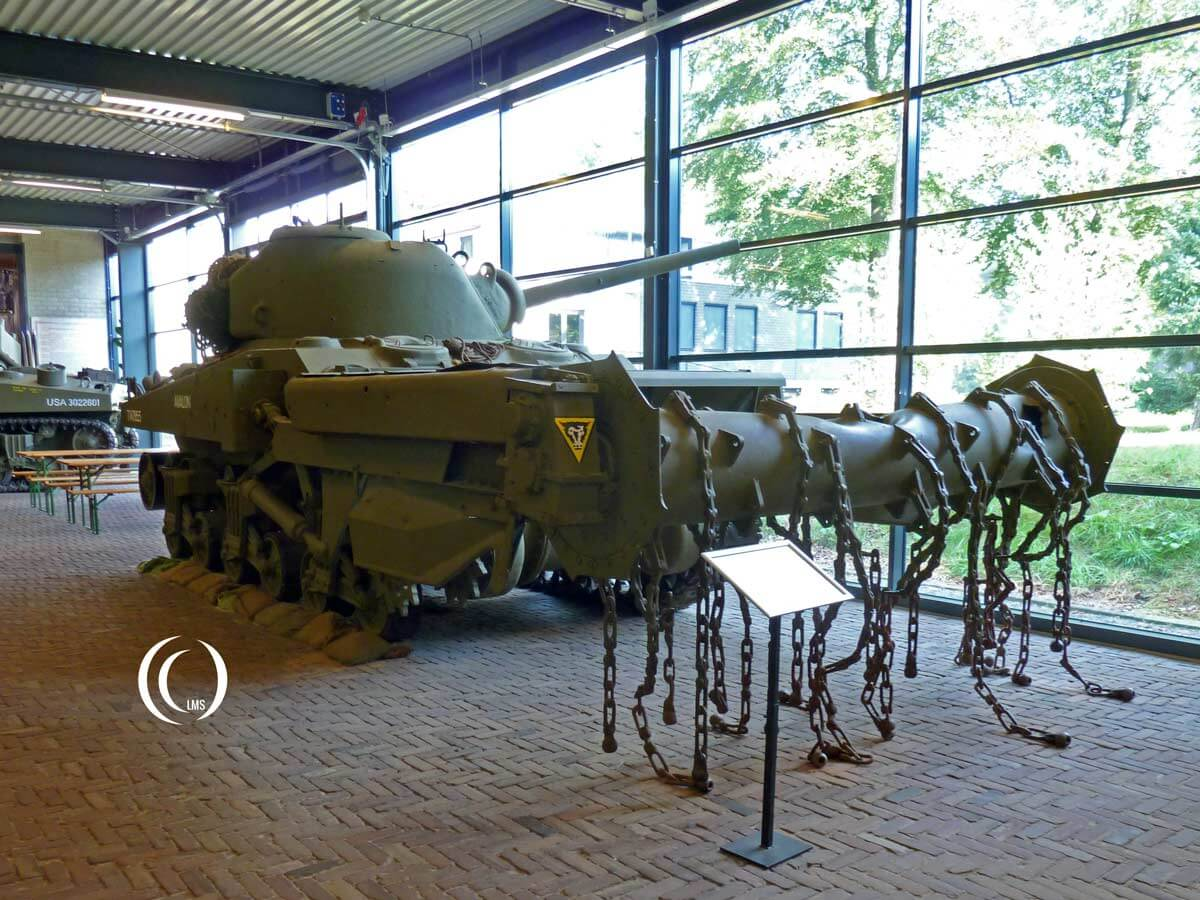 Sherman M4A4 Crab Mk I mine clearing tank at War Museum Overloon