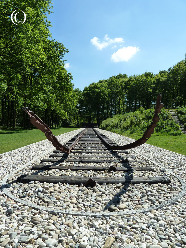 The bent train tracks at Camp Westerbork, the Netherlands