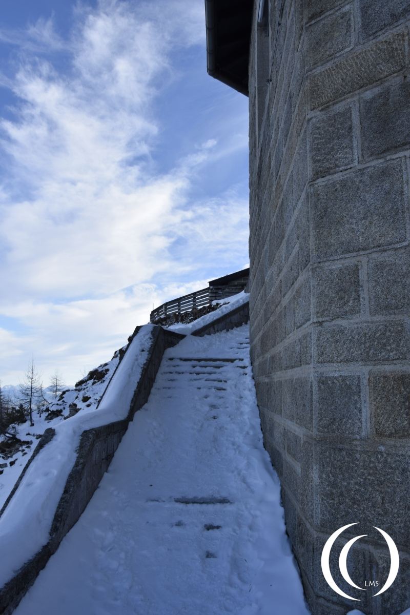 Iced up and slipery stairs on the Eagles Nest