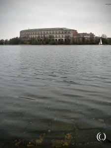 The Congress Hall and the pond Dutzendteich viewed from the Zeppelin Field