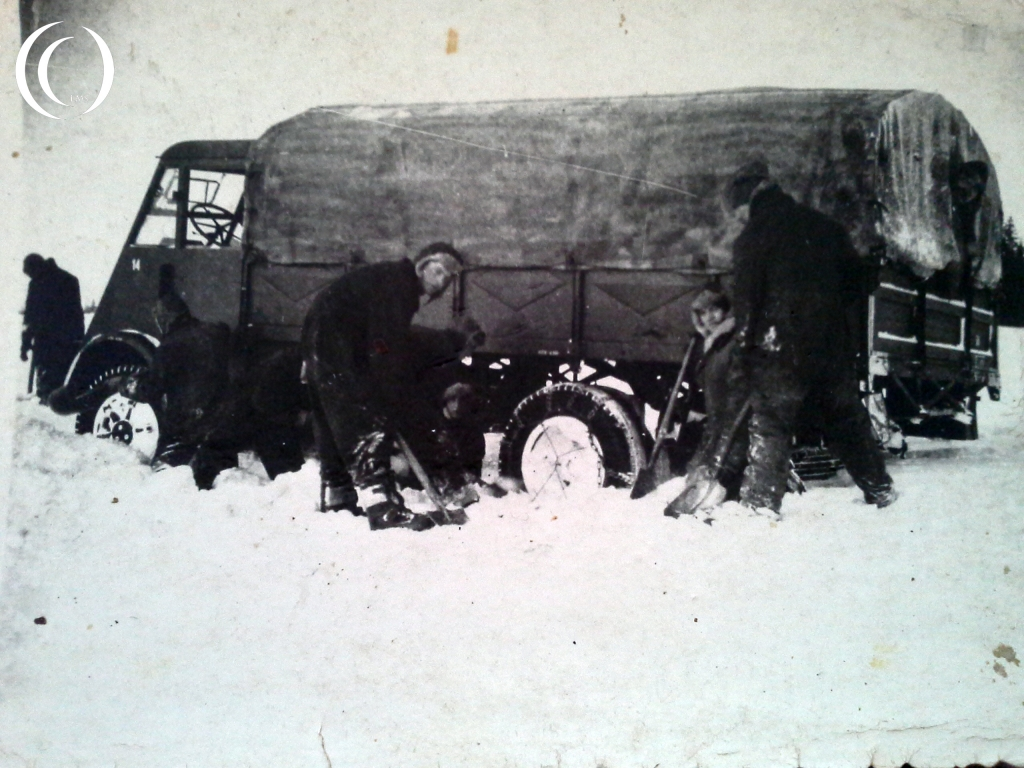 Working on a stuck truck with the Ninth Army in Russia