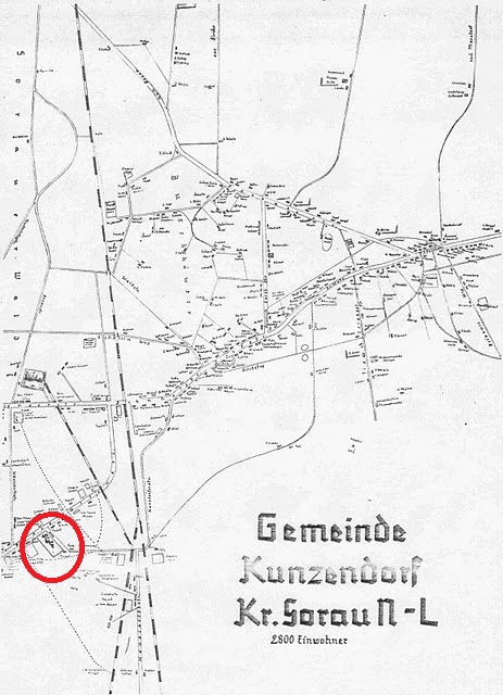 A map of Zary Kunice, Gross Kunzendorf before the war 1920, the red circle is the location of Sigla