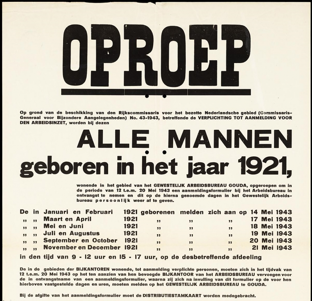 Appeal for Forced Labour for men born in 1921 in Gouda
