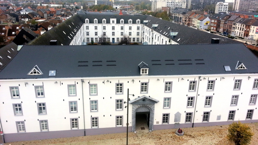 The Dossin barracks. Photo taken on the top terrace from the new museum.