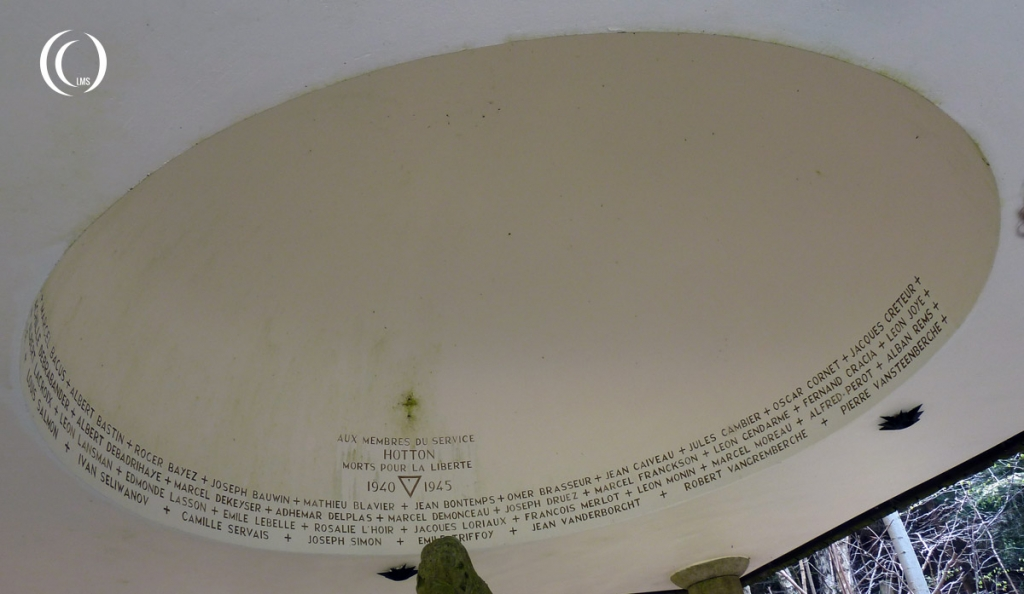 View of the engraved names in the dome of the chapelle du maquis