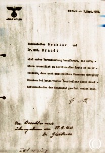 The Aktion T4 order signed by Adolf Hitler