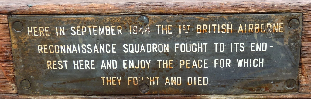 Plaque on a bench near the monument, Oosterbeek