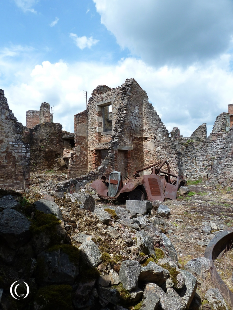 Another car wreck in the ruins of Oradour-sur-Glane