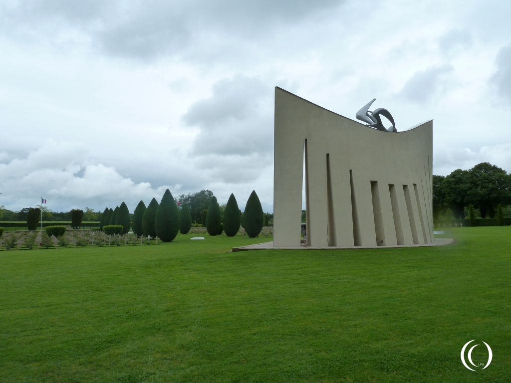 """Huge """"V"""" shaped monument from the back"""