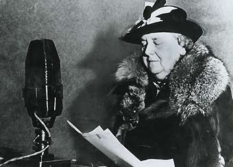 Queen Wilhelmina of the Dutch Royal Family broadcasting for Radio Orange from London in 1940