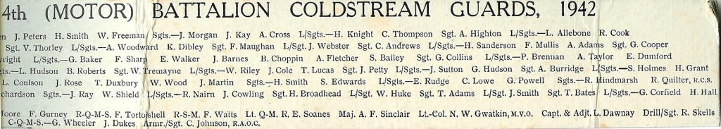 4th Battalion Coldstream guards, nominal roll 2, Sergeants mess in 1942