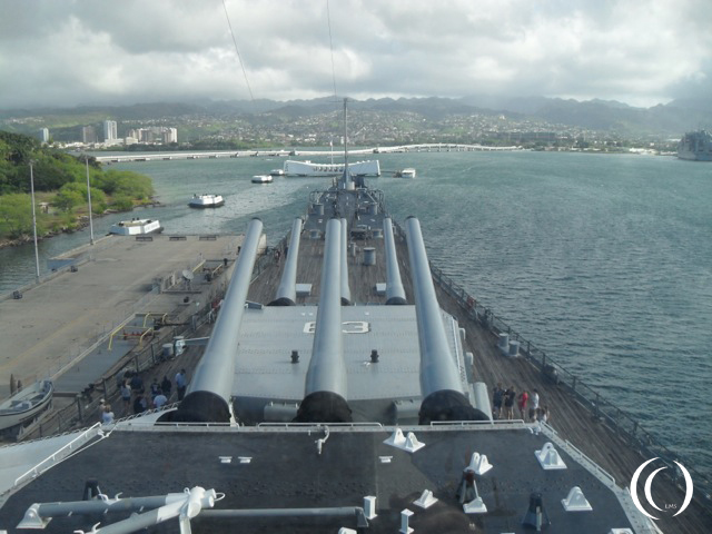 USS Arizona seen from the USS Missouri - Photo by Peter Vermeulen