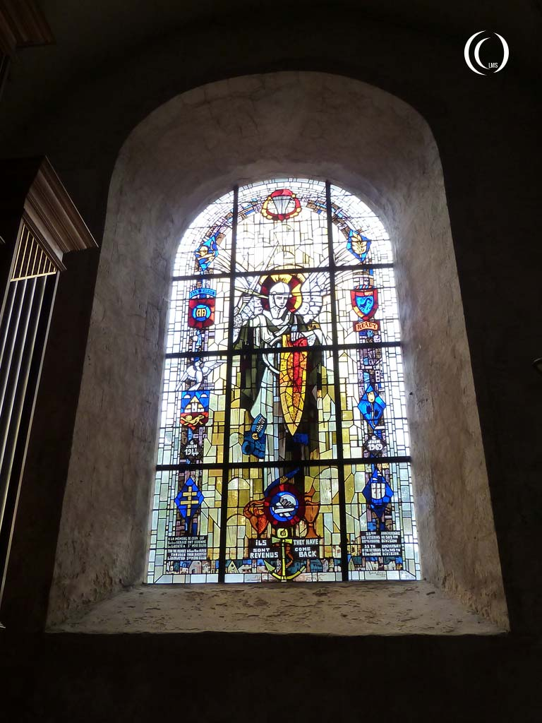 stained glass commemorating the D-day landings of  82nd and 101st Airborne Division - Sainte-Mère-Église, Normandy, France