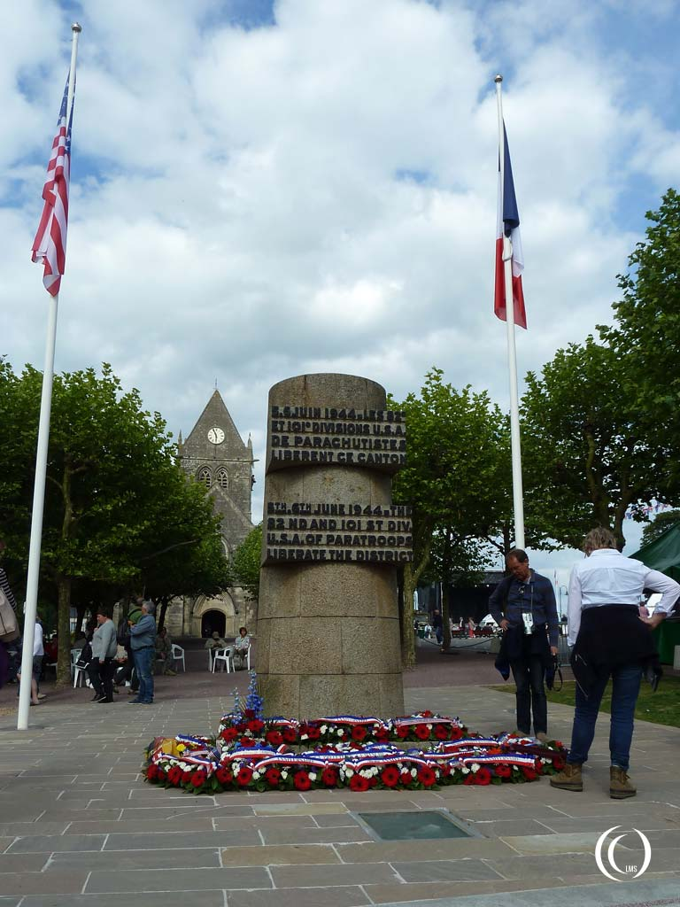 Monument in front of the church commemorating the liberation by 28nd and 101st Airborne Divisions - Sainte-Mère-Église, Normandy, France
