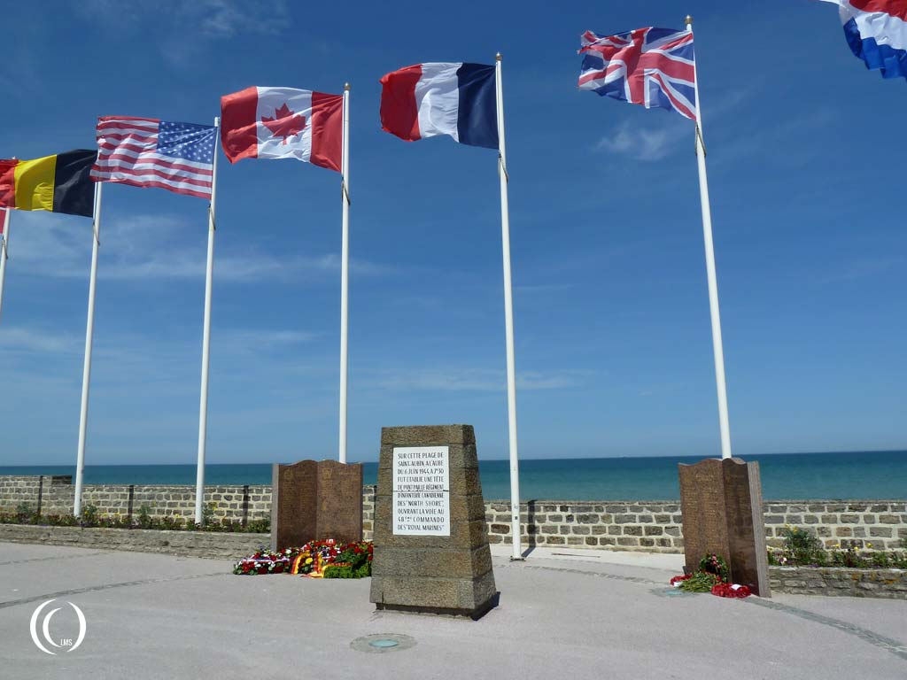 Monument to commemorate the landing of 48th Royal Marine Commando's on D-day