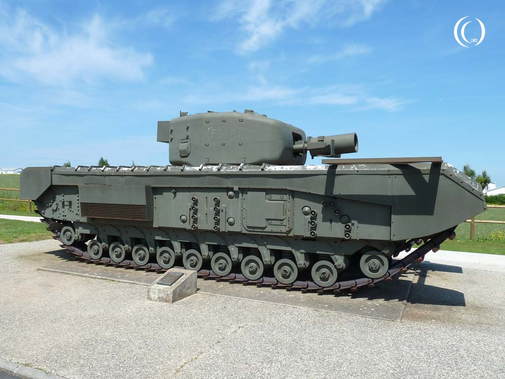 View of the right side of the Churchill AVRE Mk. IV tank - Lion-sur-Mer, Normandy, France