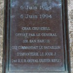 Plaque next to the Churchill Avre tank - Lion-sur-Mer, Normandy, France