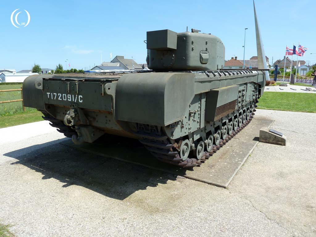 Churchill Avre Mk. IV tank seen from the back - Lion-sur-Mer, Normandy, France