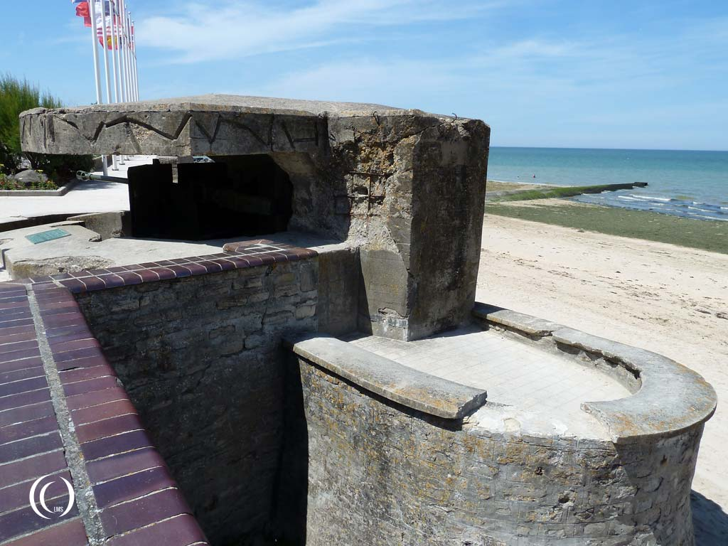 Visible damage of the tank grenade impact - Saint-Aubin-sur-Mer, Normandy, France