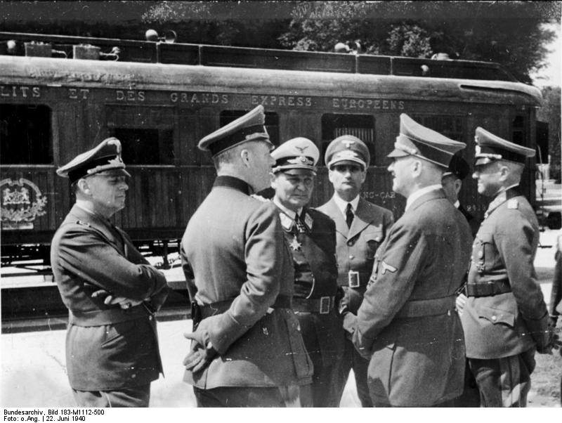 Adolf Hitler and the German High Command at Compiègne, France