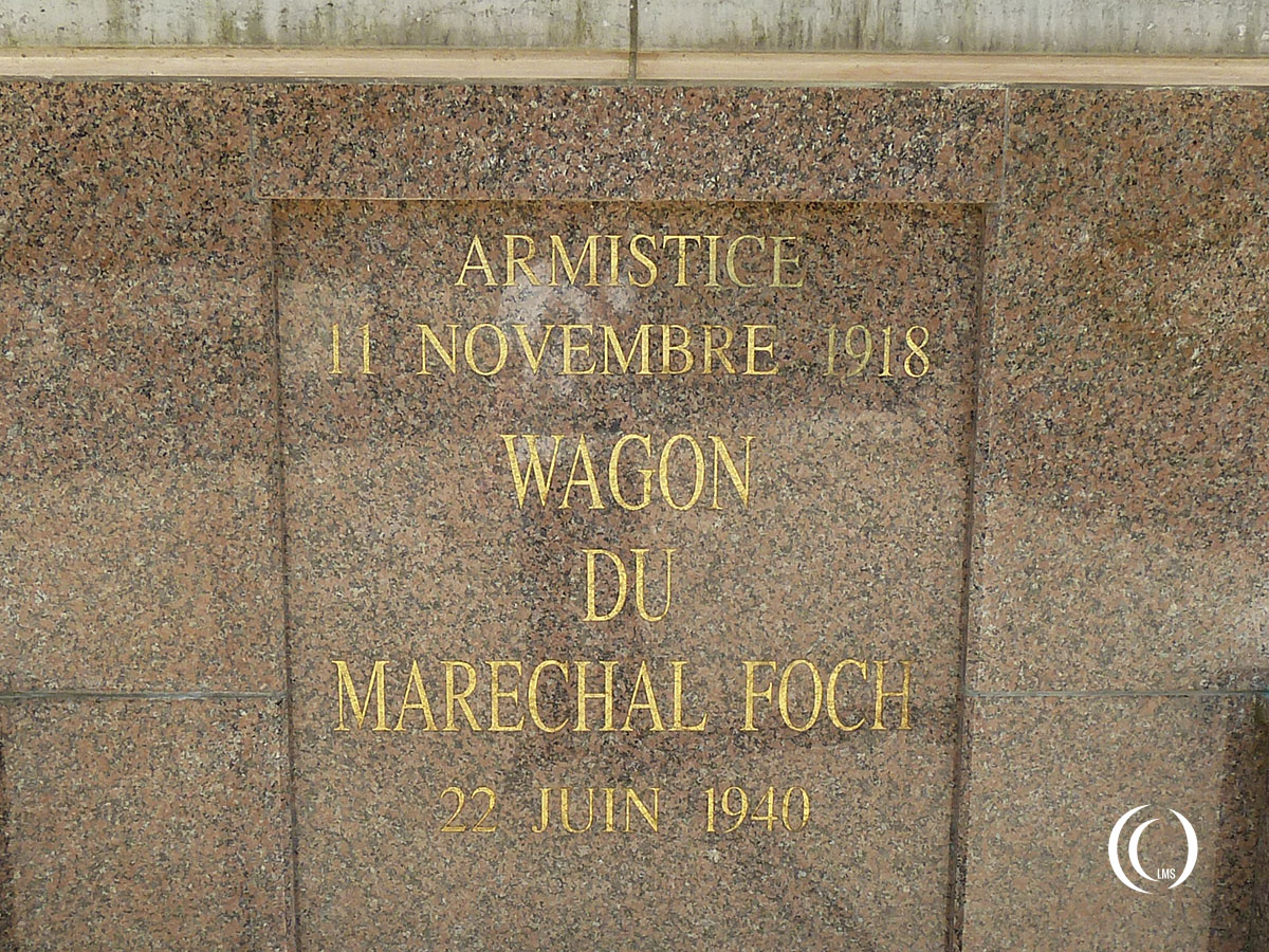 Inscription at the entrance of the Armistice memorial building