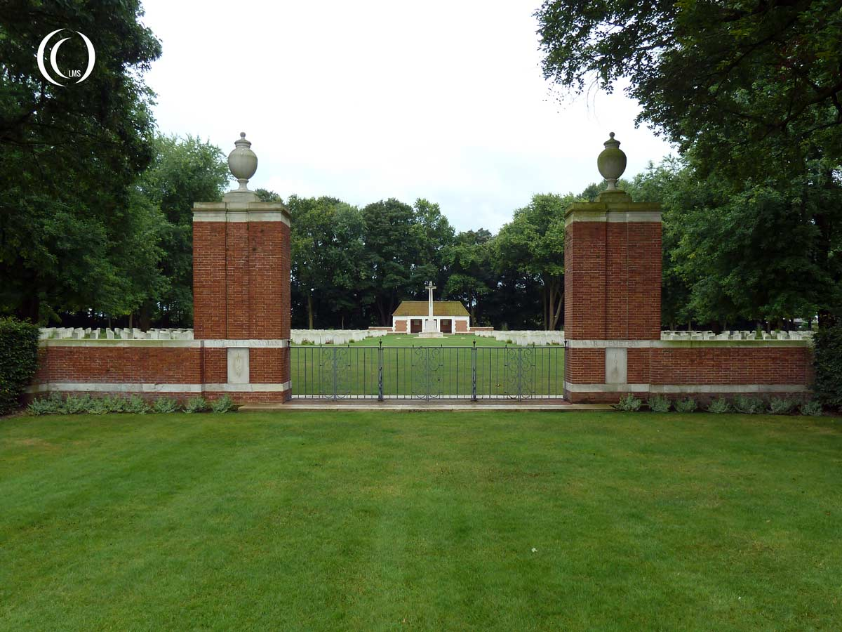 The entrance to the Canadian War Cemetery at Adegem Belgium