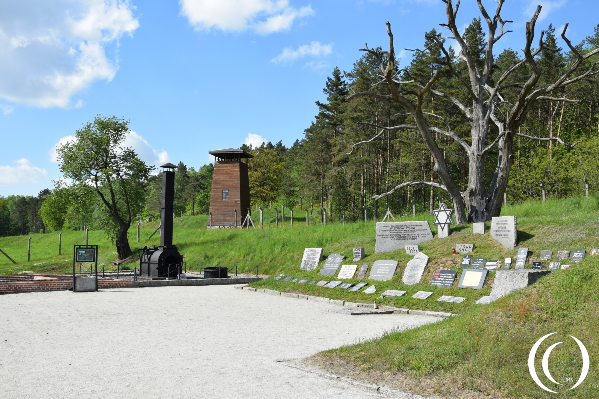 The mobile crematorium with Execution place and Guard tower at Gross-Rosen