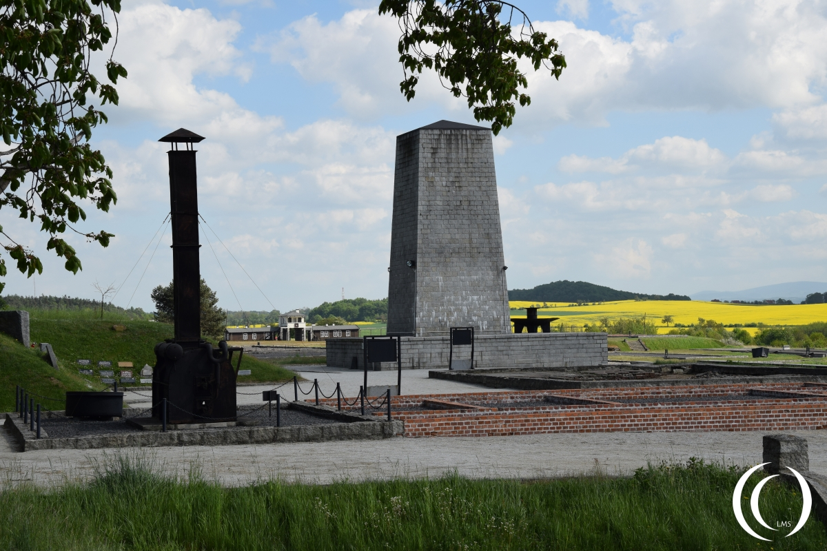 The mobile crematorium with execution place, foundations of the crematoria, gas chamber and memorial tower at Gross-Rosen
