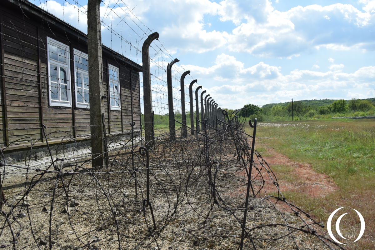 Barber wire and electric fensc at the concentration camp Gross-Rosen