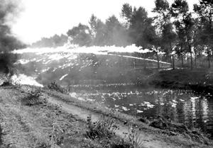 October 1944 Wasp flamethrowers of the 4th Canadian Armoured Division across the Leopoldkanaal Maldegem Belgium