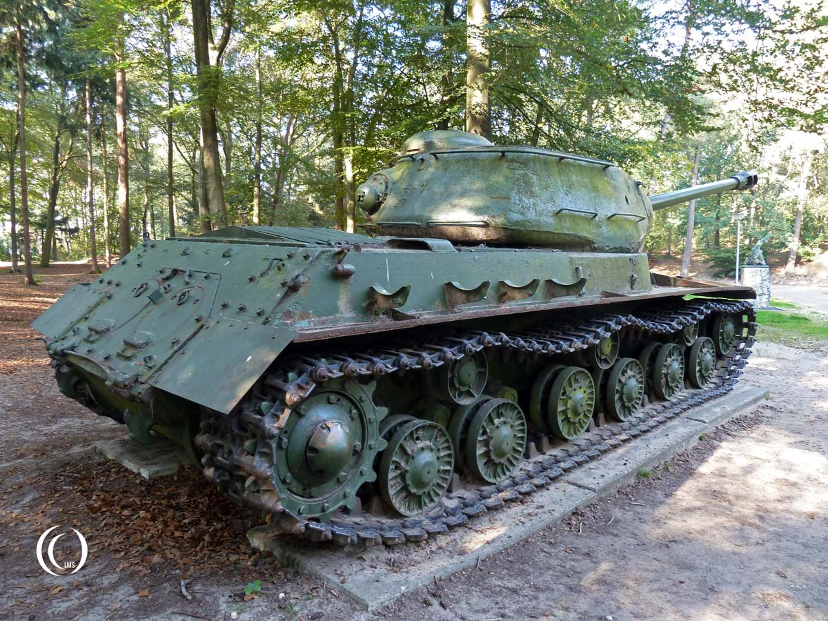 Russian Joseph Stalin IS-2 Tank seen from the back at Liberty Park in Overloon, Holland