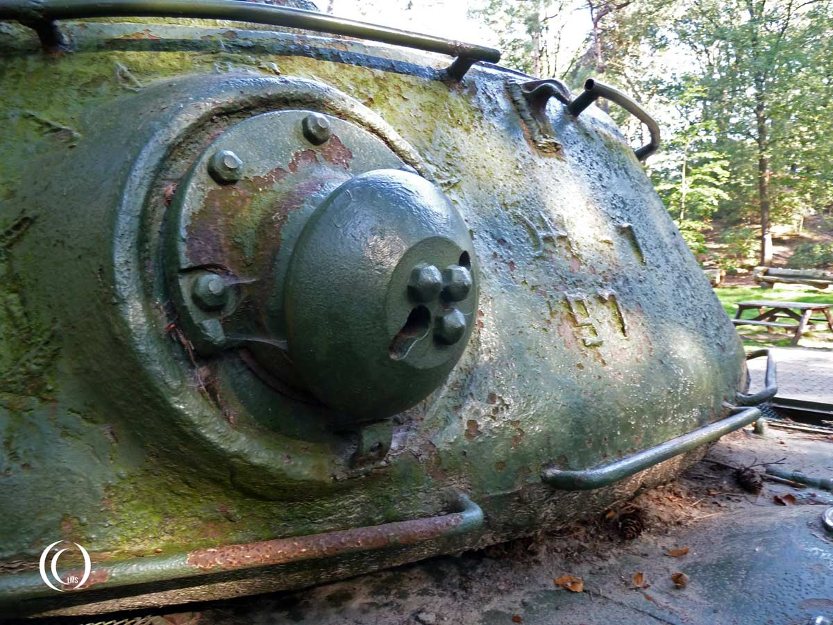 The back of the turret of the Joseph Stalin IS-2 Tank at Liberty Park in Overloon Holland
