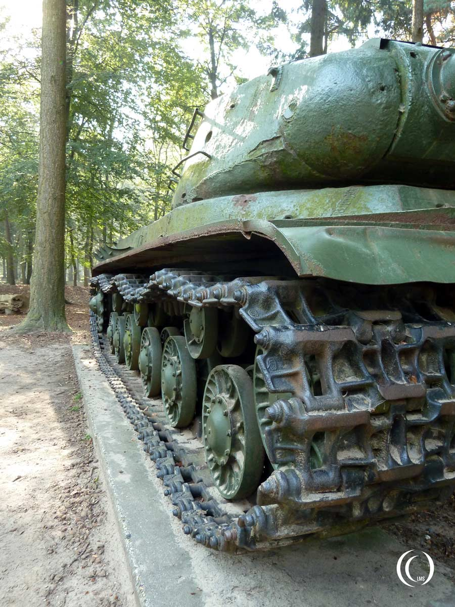 View of the tracks of the Joseph Stalin IS2 tank in Overloon Holland