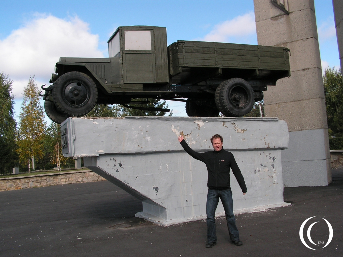 A Zis-5 truck and LandmarkScout in Miass Russia