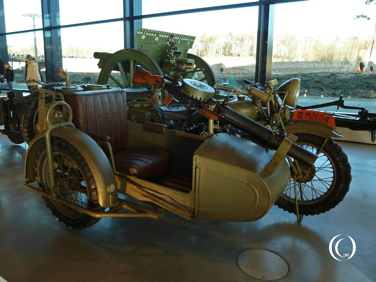 BSA G14 motorcycle with sidecar and lewis machine gun
