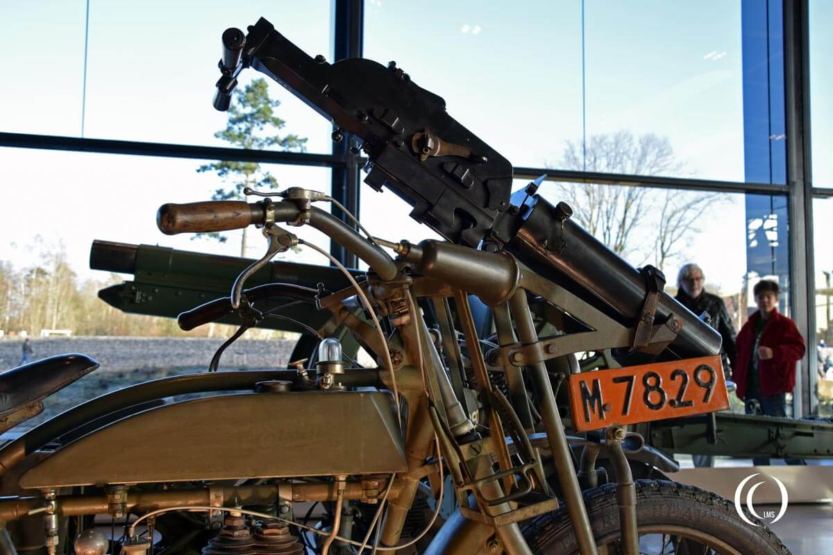 Eysink Motorcycle detail of Schwarzlose machine gun