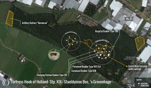 A map of the bunker Headquarters layout at Staelduinse Forest