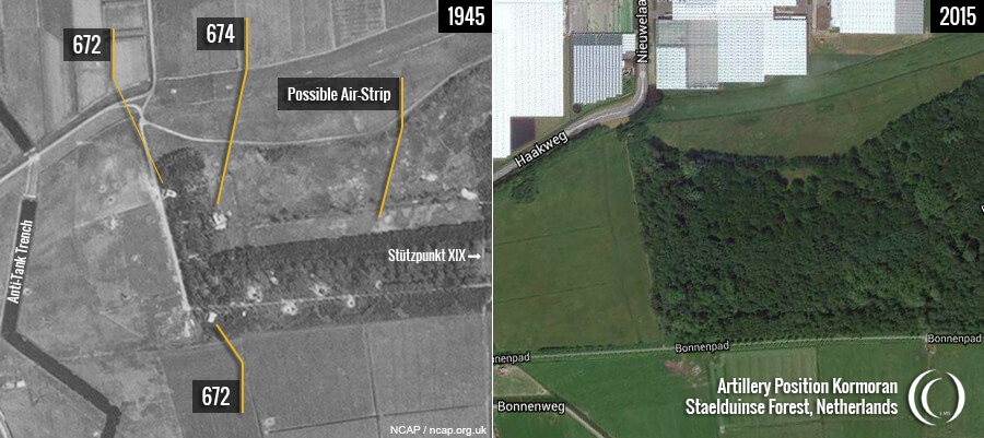 RAF Aerial Staelduinse Forest of August 1945 and 2015 Google map