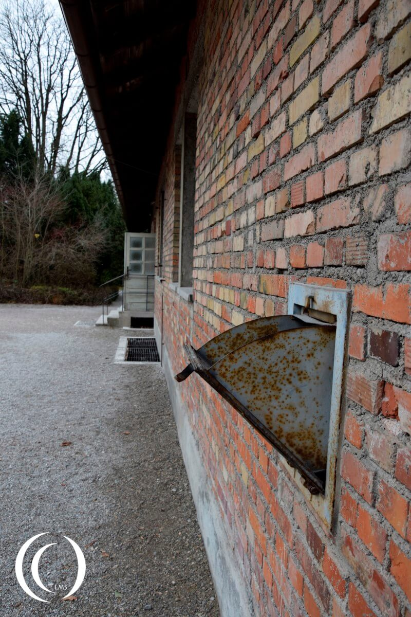 Chute for Zyklon B poisonous gas used in the gas chamber at Dachau