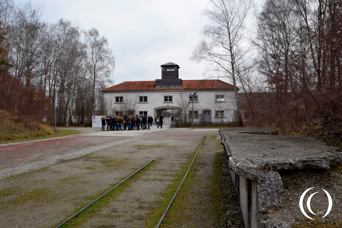 Dachau front gate and train station