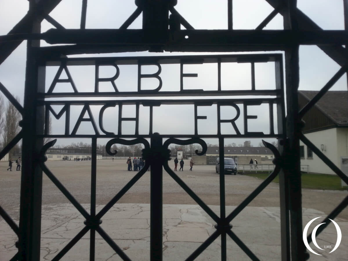 Dachau, with the infamous writings on the entrance gate