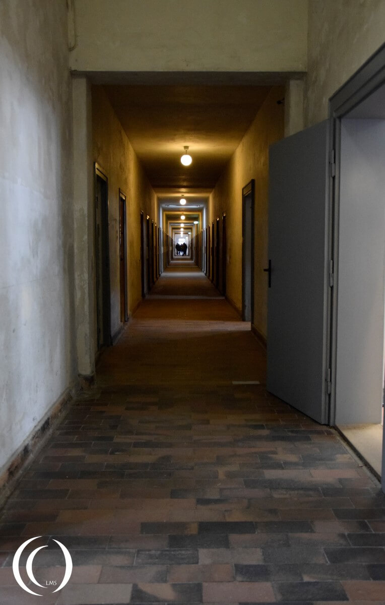 One of the two long halls with prison cells in Dachau