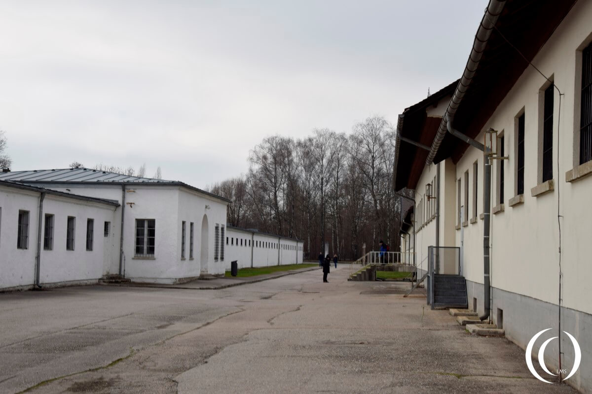 The Dachau prison and torture building behind the main building