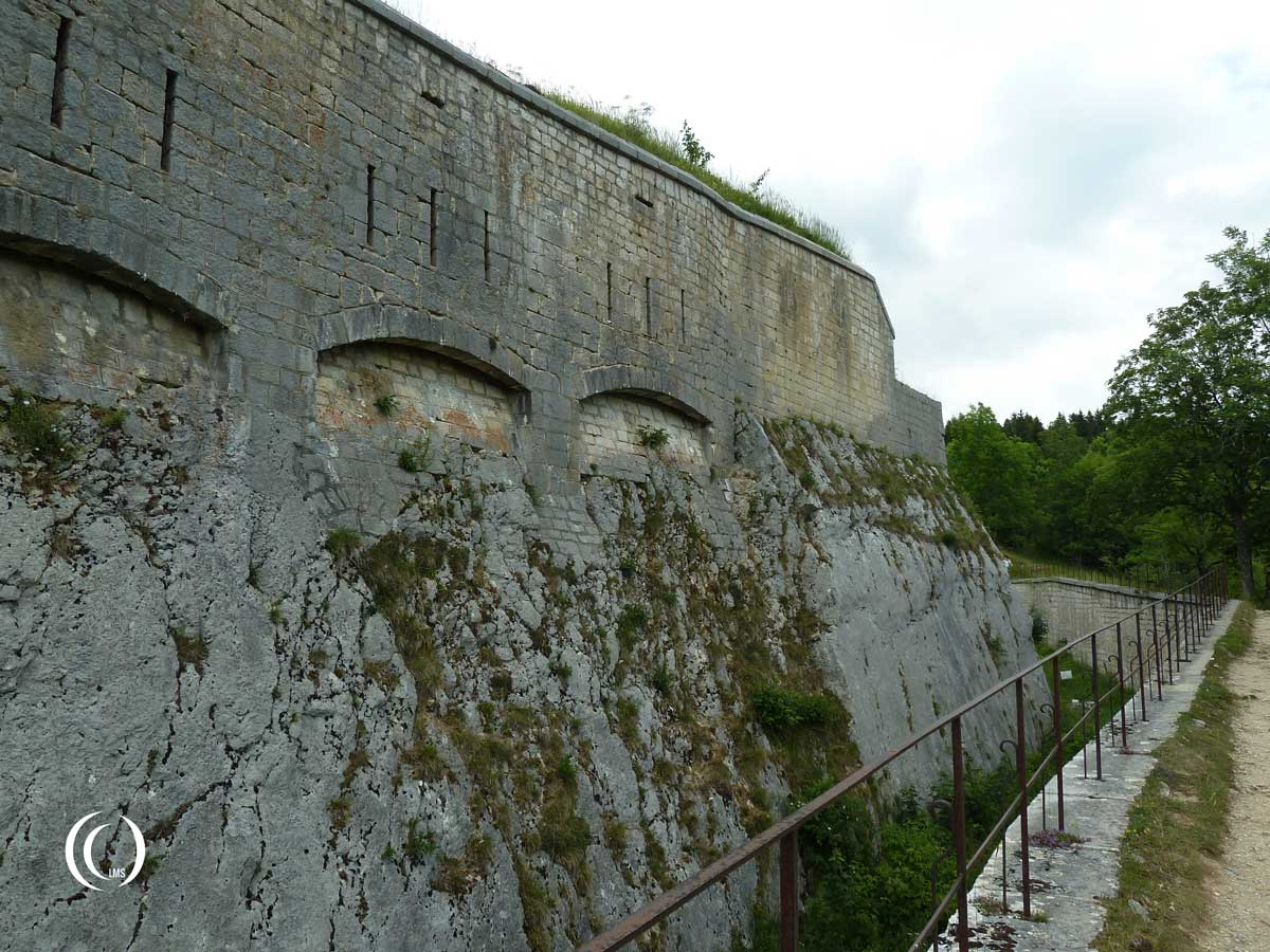 Looking out over the trench around Fort Mahler