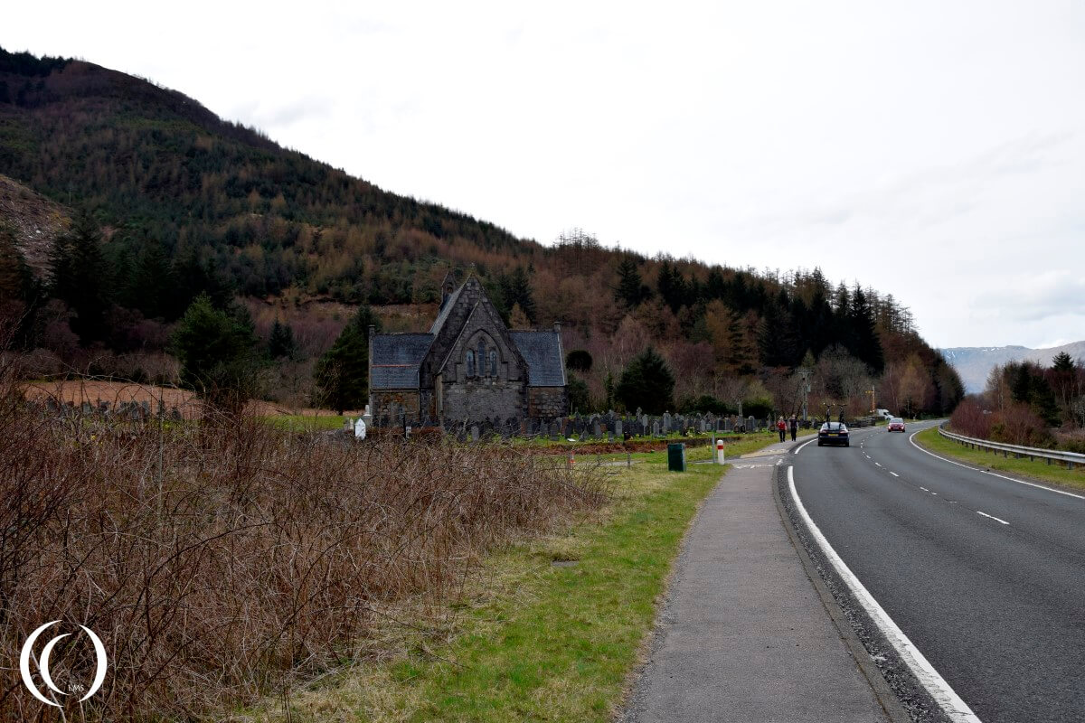 View on the cemetery near Glencoe