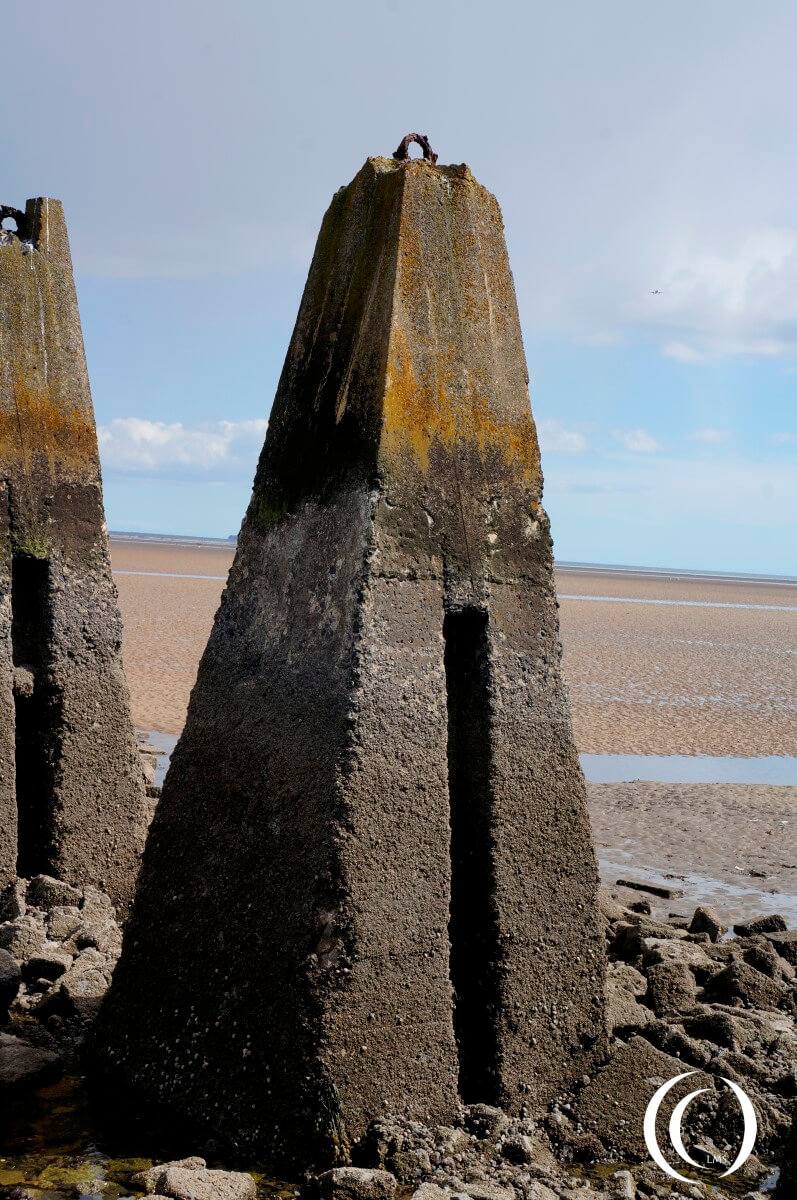 Concrete pylon at the Cramond Causeway