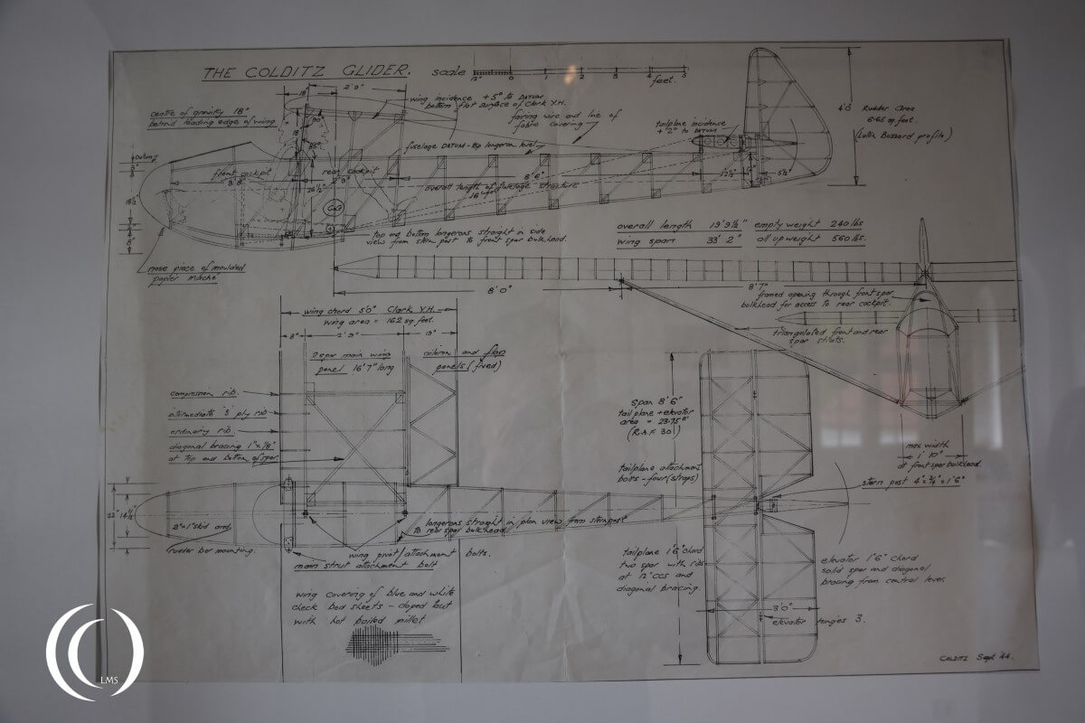 Castle Colditz, Technical drawing of the glider plane